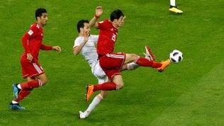Per la prima vittoriaLive Iran-Spagna 0-0Uruguay agli ottaviArabia battuta 1-0 I record di Ronaldo 85 gol in NazionalePortogallo, ancora CR7: battuto il Marocco 1-0