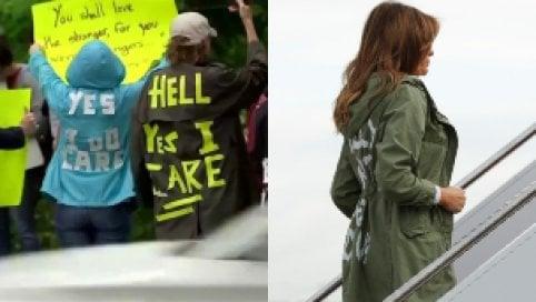 I manifestanti contro Melania:  sulle giacche scrivono