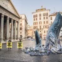 Due balene di plastica al Pantheon: l'azione Greenpeace nel cuore di Roma