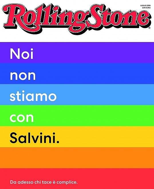 """Rolling Stone: """"Noi non stiamo con Salvini"""""""