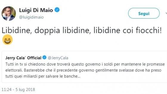 """Jerry Calà loda il governo e Di Maio risponde: """"Libidine con i fiocchi"""""""