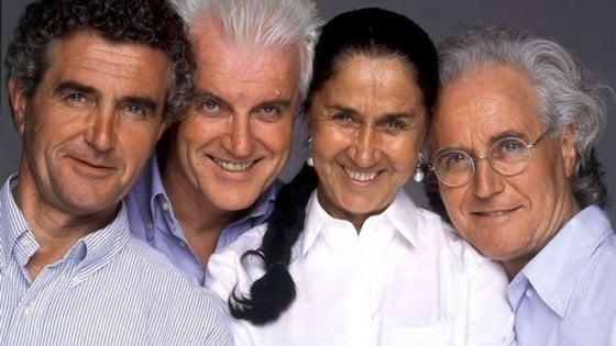 Carlo Benetton, primo a sinistra, con i fratelli