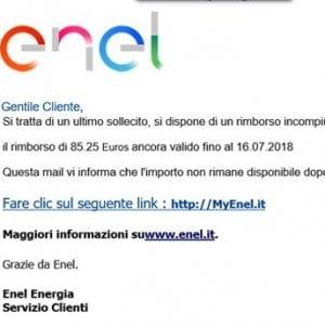 Rimborso Enel da 85 euro, ma è una mail truffa per rubare i dati della carta di credito