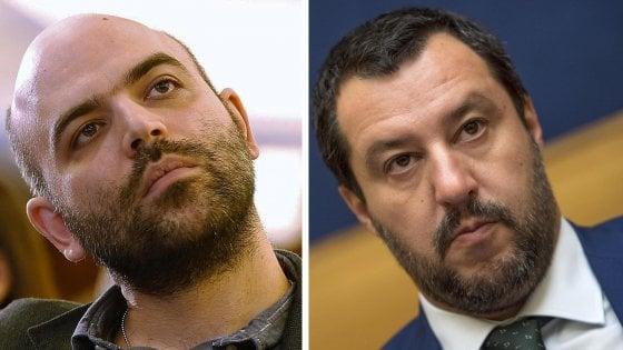 """Salvini querela Saviano su carta intestata del Viminale. La replica: """"Dietro l'angolo c'è la Russia di Putin"""""""