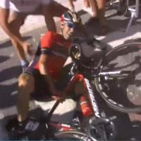 Nibali e l'addio al Tour: la caduta colpa di un tifoso