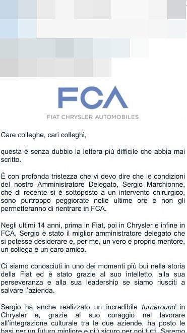 Marchionne lascia Fca, la lettera di Elkann ai dipendenti: le immagini