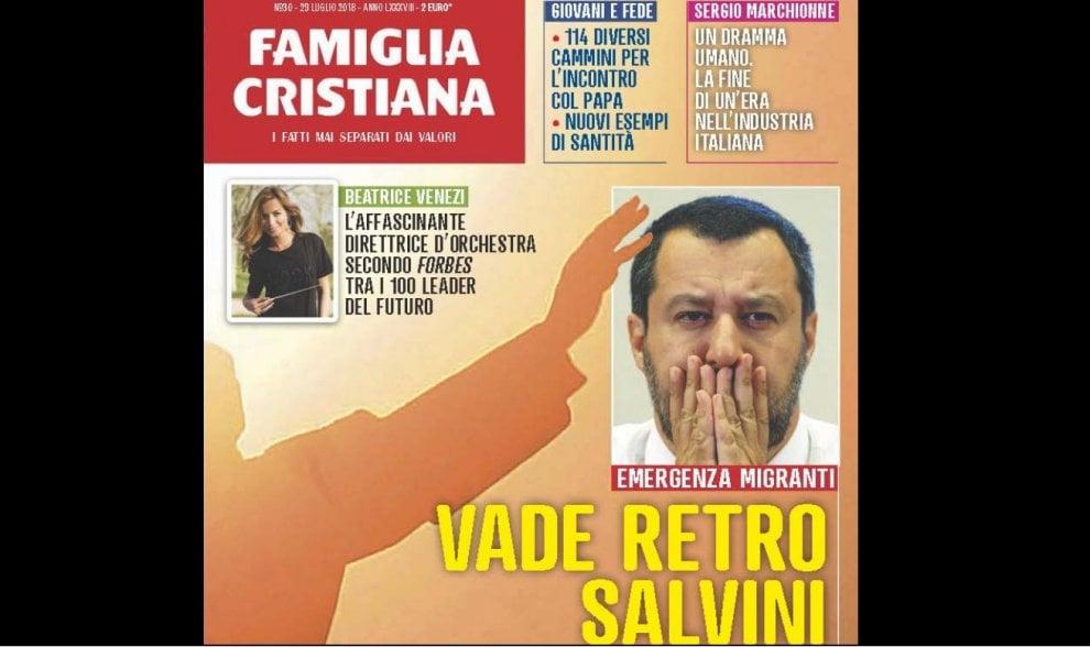 """""""Vade retro Salvini"""", Famiglia Cristiana contro la politica sui migranti del ministro. La replica: """"Non sono Satana"""""""