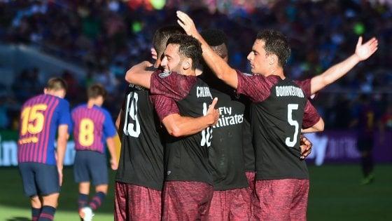 """ICC, il Milan piega il Barcellona: decide André Silva. Gattuso: """"Spirito giusto"""""""