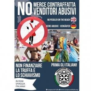 Un uomo nero e il simbolo di divieto: campagna shock di CasaPound contro i venditori abusivi
