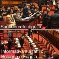 """Senato, Pd: """"Banchi del governo pieni per lo spot Dignità, vuoti sui fatti di Bologna e Foggia"""""""