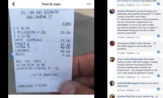 """Venezia, 43 euro per due caffè e l'acqua: scontrino fa il giro del web. Il bar: """"Contro di noi minacce e insulti"""""""