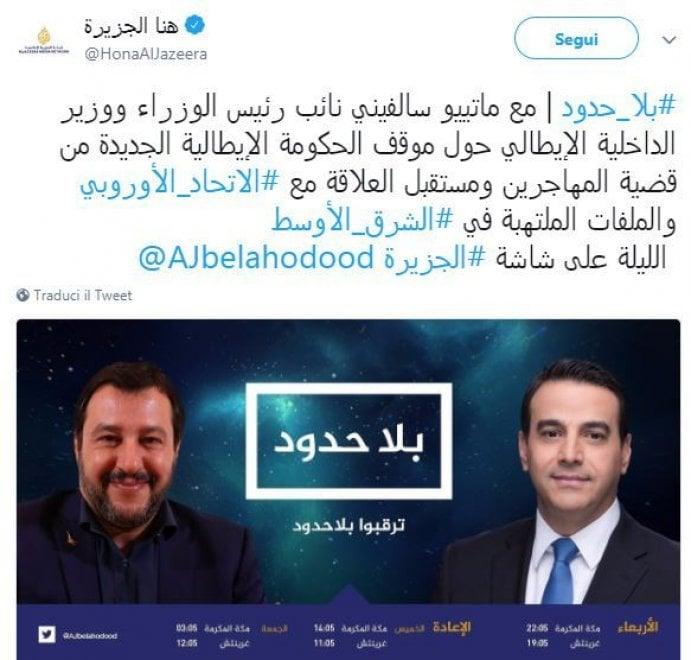 """Salvini ad Al Jazeera sul caso Regeni: """"Mi fido del Cairo"""". E sulla Russia: """"Sanzioni sbagliate"""""""