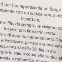 Lazio, in Curva Nord gira il volantino contro le donne nelle prime dieci