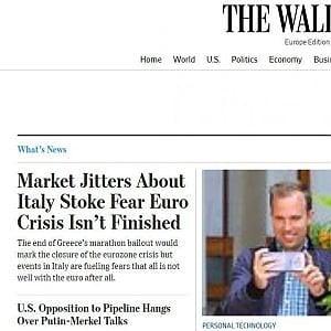 Il Wall Street Journal avverte: Attenzione all'Italia, la crisi dell'euro potrebbe non essere finita