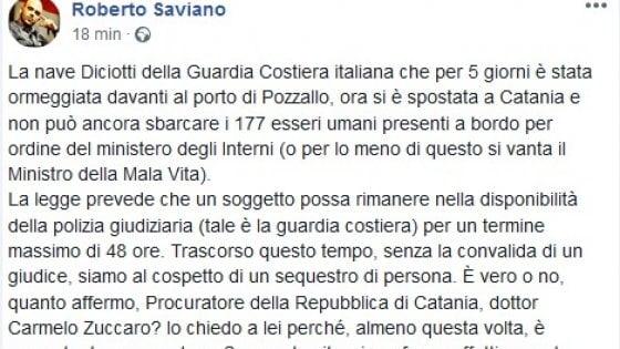 """Migranti bloccati sulla Diciotti. L'attacco di Saviano: """"Sequestro di persona"""""""