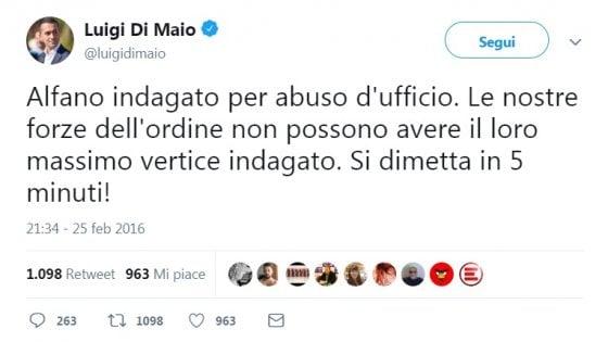 """Salvini indagato, spunta il tweet del 2016 di Di Maio: """"Alfano sotto indagine? Subito dimissioni"""""""