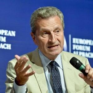 Oettinger contro l'Italia: Venti miliardi di contributo all'Ue? E' una farsa