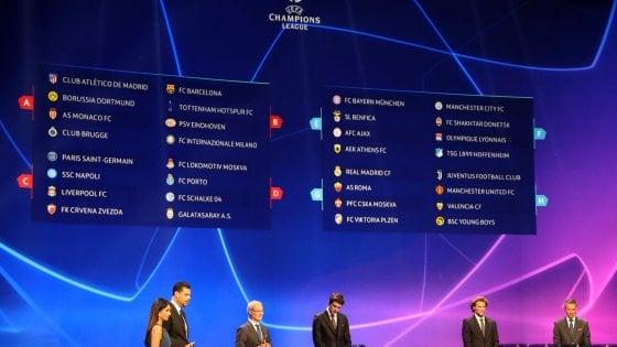 Champions League: Juventus-United e Roma-Real Madrid, Psg e Liverpool per il Napoli, l'Inter pesca il Barcellona