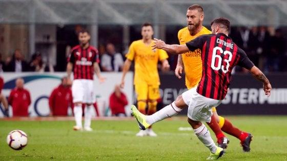 Milan-Roma 2-1, Cutrone al 95' condanna i giallorossi