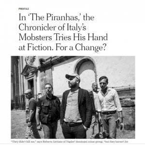 """Saviano sul NY Times: """"La camorra non mi ha ucciso, ma non mi ha lasciato vivere"""""""