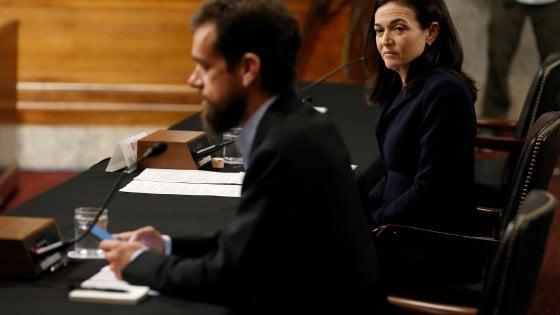 "I dirigenti di Facebook e Twitter in audizione al Congresso: ""Più trasparenza, lavoriamo insieme"""