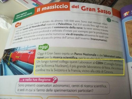 """La gaffe della Gelmini arriva sul libro di geografia: """"Un tunnel collega il Gran Sasso al Cern"""""""