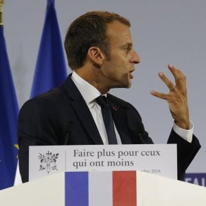 Macron al Musée de l'Homme, Parigi