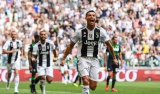 Juventus-Sassuolo 2-1, Ronaldo si sblocca con una doppietta. Follia Douglas Costa: sputo ed espulsione