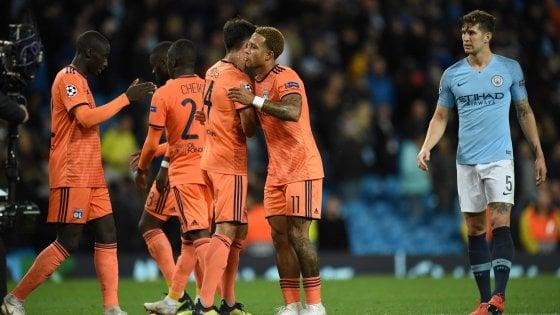 Champions: il City cade in casa con il Lione, bene United e Bayern Monaco