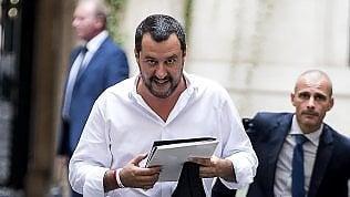 Salvini all'uscita dal vertice di Palazzo Grazioli