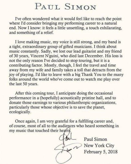 """Paul Simon dice addio al palcoscenico a due passi da dove è cresciuto: """"Ci venivo in bici"""""""