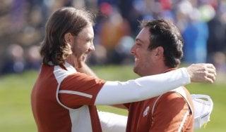 Golf, Ryder Cup: Molinari da record, doppia vittoria con Woods e l'Europa scappa