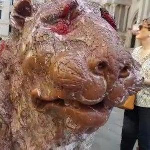 """Venezia, imbrattato il """"leoncino"""" di San Marco"""