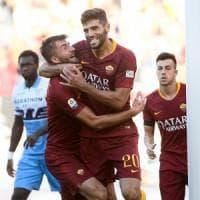 Roma-Lazio 3-1, il derby è giallorosso: in gol Pellegrini, Immobile, Kolarov e Fazio