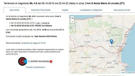 Quattro scosse di terremoto nella notte a Catania, la più forte magnitudo 4.8. L'allarme arriva via social