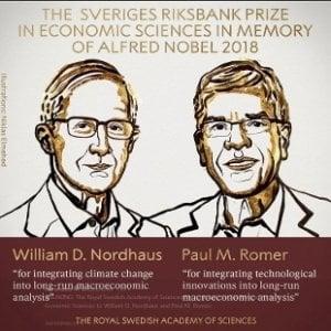 Nobel Economia a Nordhaus e Romer per la ricerca sui cambiamenti climatici