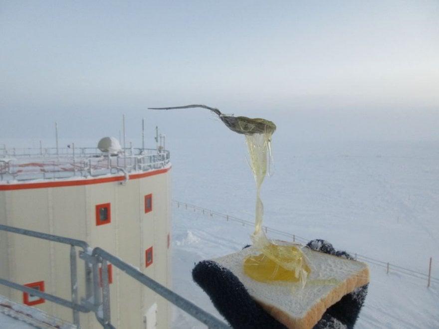 Spaghetti rigidi, miele cristallizzato: nell'Antartide il cibo congela all'istante