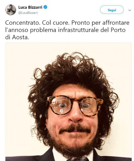 """Luca Bizzarri si trasforma nel ministro Toninelli: """" Pronto per il porto d'Aosta"""""""
