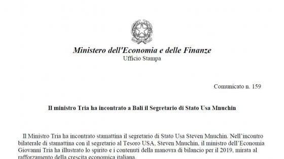 Il ministero del Tesoro promuove a segretario di Stato il suo omologo Usa. Ma la gaffe non sfugge ai social