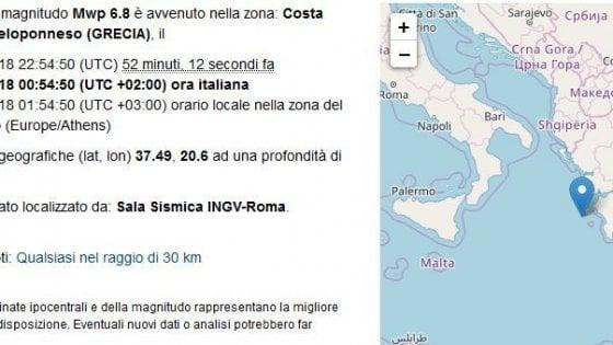 Terremoto, altra scossa in Grecia. Cessato l'allerta Tsunami nel sud Italia