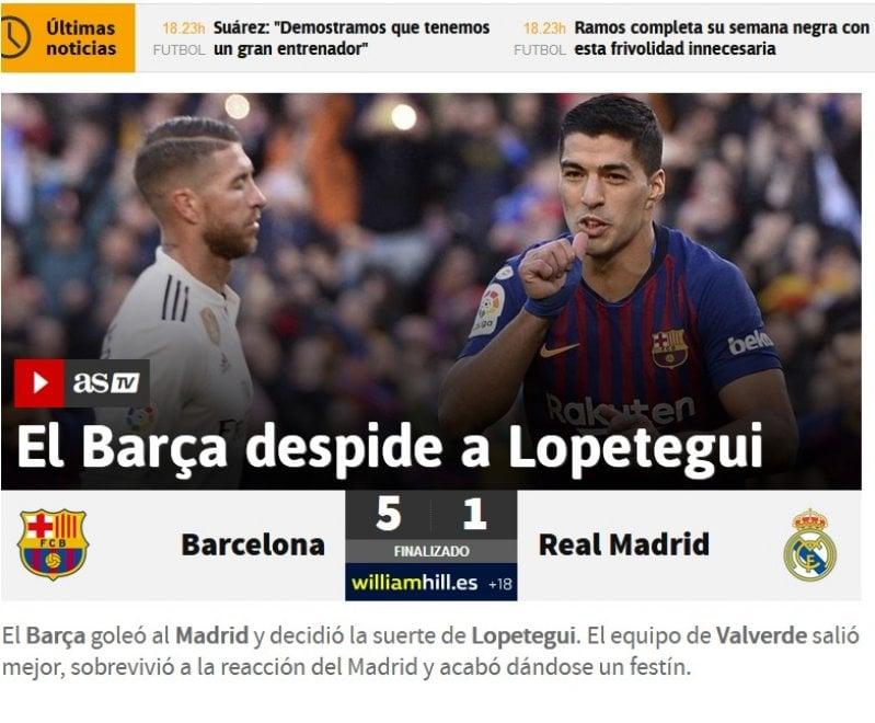 Liga, il Barcellona umilia il Real 5-1: il Clasico visto dai giornali spagnoli