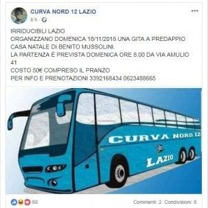 """Ultrà della Lazio in trasferta a Predappio: 50 euro per far visita a """"casa Mussolini"""""""