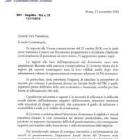 La lettera del Governo alla Commissione Ue