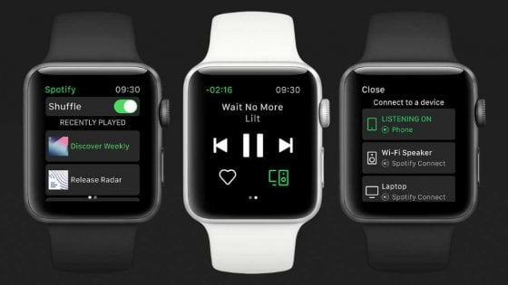 Spotify, ecco la nuova app per Apple Watch