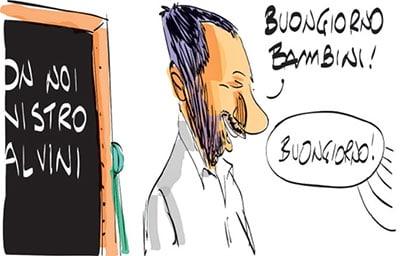 Salvini fa il professore ma sbaglia classe: la satira di Makkox