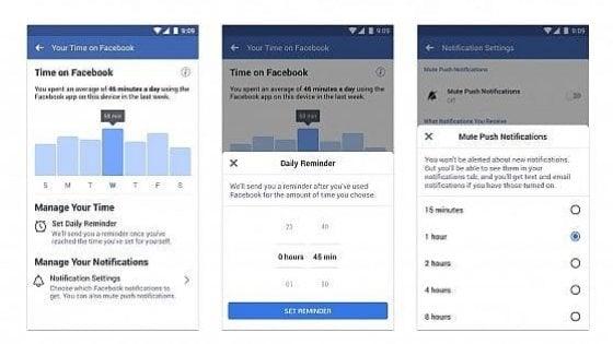 Facebook attiva il timer per controllare il tempo trascorso sul social