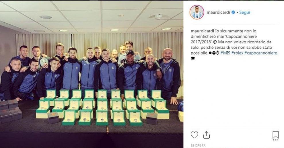 Inter, Icardi regala un orologio Rolex ai compagni: ''Capocannoniere grazie a voi''