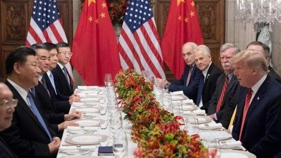 Donald Trump durante la cena con Xi Jinping