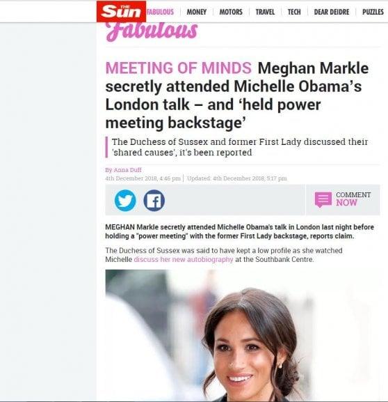 Gb, Meghan Markle: incontro in gran segreto con Michelle Obama