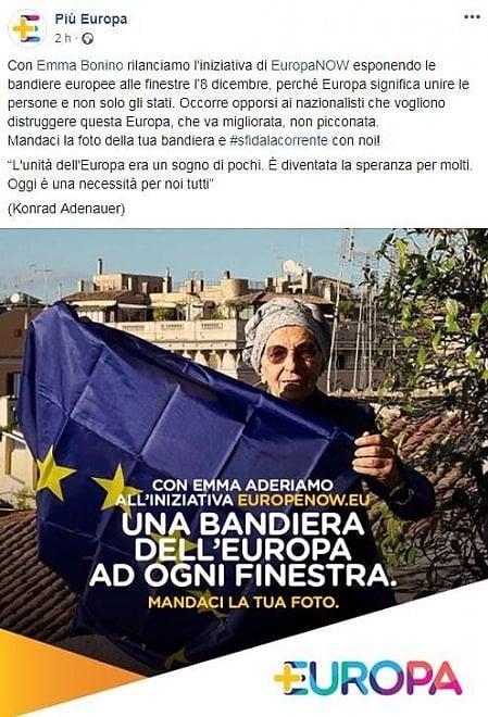 Bonino aderisce alla campagna di EuropaNow e sventola la bandiera Ue